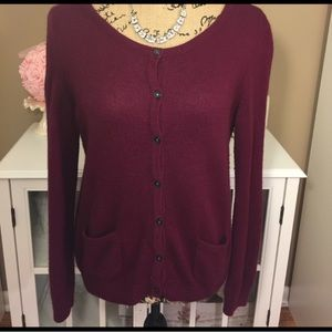 H&M Maroon Button Down Sweater